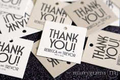 Thank You Tags Wedding Favors Tag Deco Style with Names and Date Personalization