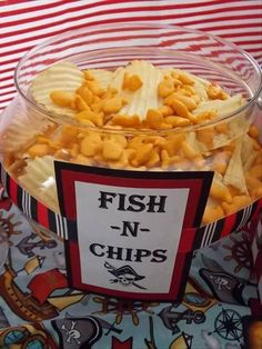 Fish & Chips (Goldfish and potato chips) perfect for a nautical theme party.                                                                                                                                                                                 More