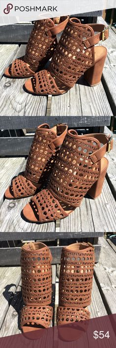 🌿Earth Day Sale!🌿Cognac Perforated Booties! NEW! Open toe and open heel! Block heel 3.5 inches tall. Perforated vegan leather in fun layered styling! Buckle closure in back for adjustable fit. Fits true to size. New in box. Friendsnfashion Boutique Shoes Ankle Boots & Booties