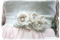 Blushing Bride rhinestone, pearl and floral sash or  headpiece by KgDesign