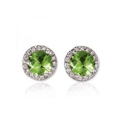 Round Green Peridot & White Diamond Ladies Halo Style Stud Earrings 4... (2.605 BRL) ❤ liked on Polyvore featuring jewelry, earrings, white, white earrings, white gold earrings, peridot earrings, white diamond earrings and white gold jewelry