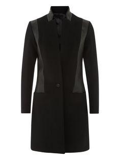 Muubaa Valmont Woll & Leder Crombie Mantel in Schwarz #Muubaa #AW15