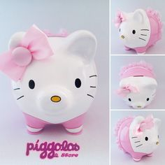 Hello Kitty, Piggy Bank, Lily, Kawaii, Crafty, Ornaments, Decorated Clipboards, Decorated Flower Pots, Money Box