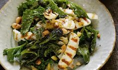 Hugh Fearnley-Whittingstall's halloumi with purple sprouting broccoli and preserved lemon salad
