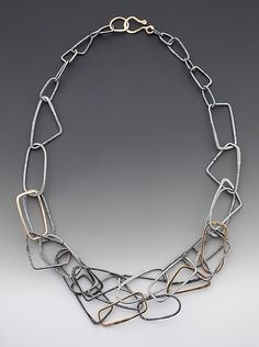 """""""Gold Shape Necklace"""" Gold & Silver Necklace  Created by Kendra Renee"""