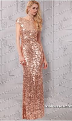 Fabulous Cap sleeves Crew neckline Low back floor length sequins dress - cheap prom dresses. cheap formal dresses.prom dresses,formal dresses,ball gown,homecoming dresses,party dress,evening dresses,sequin dresses,cocktail dresses,graduation dresses,formal gowns,prom gown,evening gown.