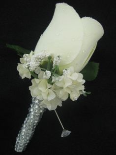 This listing is for one exquisite silk rose boutonniere with crystal rhinestone bling stem. Quality rose bud silk flower accented with greenery, white baby brea Bridal Brooch Bouquet, Silk Wedding Bouquets, Corsage Wedding, Diy Wedding Flowers, Flower Bouquet Wedding, Rose Wedding, Ivory Wedding, Wedding Groom, Silver Weddings