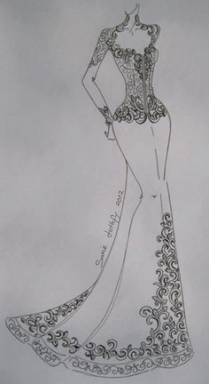See related links to what you are looking for. Dress Design Drawing, Dress Design Sketches, Fashion Design Sketchbook, Fashion Design Drawings, Fashion Sketches, Embroidery Fashion, Beaded Embroidery, Embroidery Patterns, Dress Illustration
