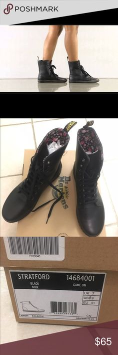 Dr Martens Black Stratford 9 Eye Fold Down Boot US 9 black Dr Martens Stratford boot with a fun pink floral inner lining. Never worn and with box. Dr. Martens Shoes Combat & Moto Boots