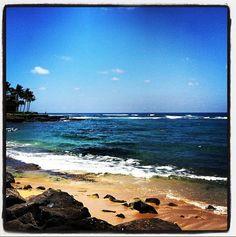 The sandy beach and beautiful water. Kauai.