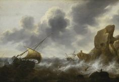 The Athenaeum - A Fishing Boat off a Rocky Coast in a Storm with a Wreck (Jacob Adriaensz Bellevois - )
