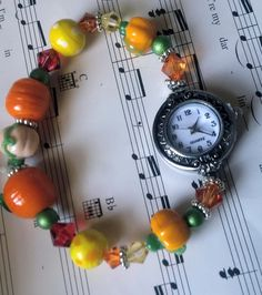 Fall Bracelet Watch fall lampwork beaded by FarringtonBead on Etsy