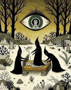 Three Shadow People Terrify a Victim During an Episode of Sleep Paralysis :: Artist Jon MacNair Arte Horror, Horror Art, Shadow People, Sleep Paralysis, Psy Art, Arte Obscura, Occult Art, Witch Art, Creepy Art