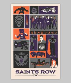 Saints Row IV poster by WilliamHenryDesign New Video Games, Video Game Art, Saints Row 4, Agents Of Mayhem, Third Street, Boy Gif, V Games, Sr1, The Row