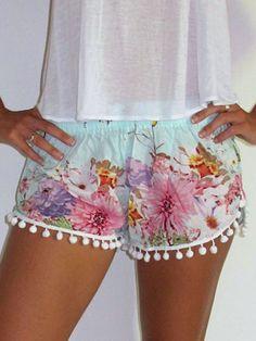 Blue Floral Print Elastic Waist Pom Poms Shorts   Choies