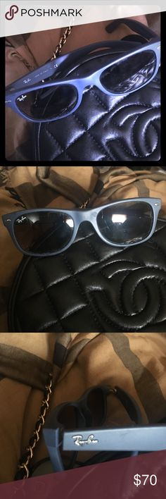 Ray Ban RB2132 New Wayfarer Blue Authentic Ray Ban RB2132 New Wayfarer Matte Blue Sunglasses. Pre-owned but in good condition. Ray-Ban Accessories Sunglasses