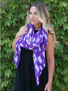 KANSAS STATE LOVE GAMEDAY SCARF. Show your school spirit in this fabulous state shape printed gameday scarf! Made from a lightweight viscose material expanding 4 foot by 6 foot making this scarf transitional for any type of wear!