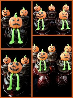 Halloween Pumpkin Topper Cupcakes with tutorial Halloween Cupcakes Decoration, Holiday Cupcakes, Cute Cupcakes, Cupcake Cookies, Pumpkin Cupcakes, Cupcake Toppers, Halloween Treats For Kids, Halloween Goodies, Halloween Cakes