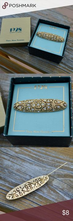 Vintage 1928 Rhinestone Gold Filigree Pin Brooch Up for sale is one pin, as pictured. It comes in the box, as pictured. The pin measures about 2.6 inches wide by about .75 inches tall. It comes in the box, as shown, though the box has some general scuff/age/damage. The pin is in great condition. 1928 Jewelry Brooches