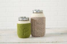 Housse pour bocal Mason pousses du printemps avec Classic Wool de Patons (Tricot)
