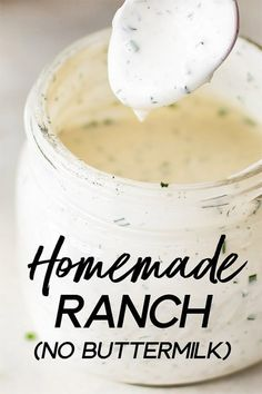 This homemade ranch dressing recipe is fast, easy to make, healthy, and tastes so much better than the store-bought variety. This recipe is made without buttermilk, so you don't have to worry about what to do with the rest! Chutneys, Sauce Recipes, Cooking Recipes, Homemade Ranch Dressing, Easy Ranch Dressing Recipe, Pioneer Woman Ranch Dressing, Outback Ranch Dressing, House Dressing Recipe, Herb Dressing Recipe