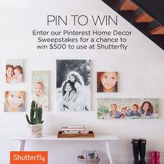 Enter our pin-to-win home décor sweepstakes by 10/2 for a chance to win a $500 Shutterfly credit.