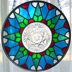 Starburst Dish Stained Glass Panel with Blue by GoodGriefGlass, $65.00