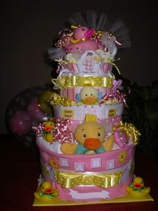 Baby Shower Diaper Cakes  Lots of ideas and directions!!