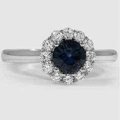 18K White Gold Sapphire Lotus Flower Diamond Ring, set with a 6mm Premium Teal Round Sapphire.
