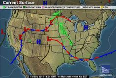 Current US Surface Weather Map Weather Pinterest