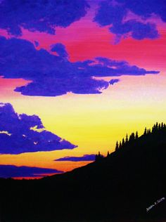 """""""Northwest Sunset"""" by Angela K. Scott. ~Watercolor Painting.  --- Art, Watercolors, Scenic, Scenery, Landscape, Silhouette, Mountainous, Mountain, The Pacific North-West, P.N.W., Forested, Forest, Wood, Nature, Realism, Realistic, Sunset, Colorful Skies, Sky-line."""