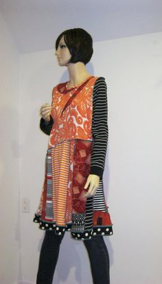 L to XL Dress Orange and Black by maisestudio on Etsy