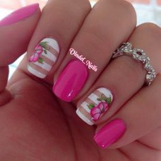 Pink Hibiscus Solids and Stripes Nail Art.