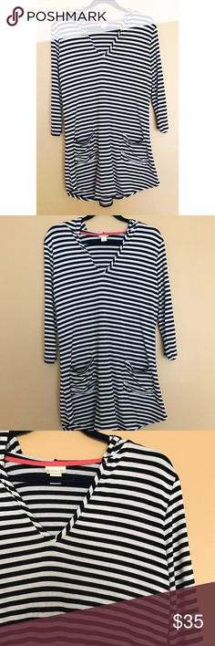 """Anthropologie Akini Striped Beach Cover Up Dress Approximately:  Length: 30.5"""". Back is .5"""" longer. Sleeves: 17.5"""". Pit to pit: 20"""". Shoulder: 15"""".   Body:  47% Rayon.  47% Polyester. 6% Spandex.   Trim:  95% Rayon  5% Spandex.  Machine washable. Anthropologie Dresses"""