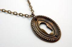 Oval Keyhole Pendant Necklace Brass Victorian