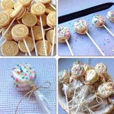 Idea f& y econ& para mesa dulce Cookie Pops, Snacks Für Party, Party Treats, Unicorn Birthday Parties, Unicorn Party, Party Ideas For Teen Girls, Bar A Bonbon, Ideas Para Fiestas, Bake Sale