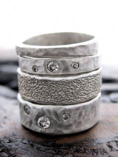 Sahlia Jewelry's pounded sterling silver band with conflict-free diamonds. Second ring from the top. GIMME GIMME I NEED I NEED.