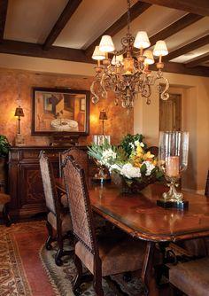 Mediterranean style dining room. Interior design & Italian imports by von Hemert Interiors. #DonnaPennington