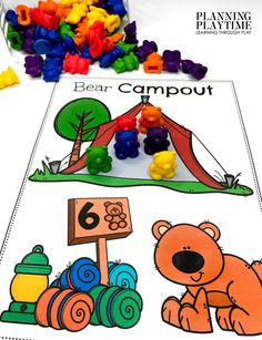Count & place the target Number of Bears in the tent! - Pre-k Camping Worksheets
