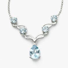Blue Topaz and Diamond Necklace, 14K White Gold
