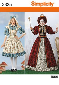 Diy Sewing Pattern-Simplicity 2325 Plus size -Alice in Wonderland Costumes-Alice's Dress-Queen's Dress. $6.00, via Etsy.