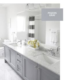 Master bath remodel - grey cabinets with carrera marble. Accents: yellow or navy? Grey Bathroom Cabinets, Grey Cabinets, Bathroom Renos, Master Bathroom, Kitchen Cabinets, Master Baths, Family Bathroom, Bath Cabinets, Bathroom Remodeling