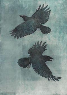 John Alexander Crow in a Fog art bird Crow Art, Raven Art, Bird Art, The Crow, Hugin Munin Tattoo, Rabe Tattoo, Crow Images, Jackdaw, Ouvrages D'art
