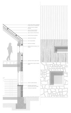 More Than 71 Of The Best Facade Construction Details Facade Detail Monte Penna # 50 of the Best Facade Construction Details,Facade detail Monte Penna cabin # Section Drawing Architecture, Texture Architecture, Plans Architecture, Architecture Building Design, Concrete Architecture, Architecture Graphics, Facade Design, Architecture Details, Construction Drawings