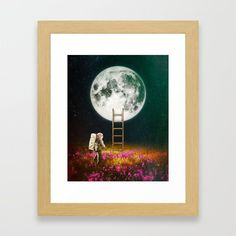 Going To The Moon Framed Art Print by seamless Surreal Collage, Wall Decor, Wall Art, Sci Fi Art, Wood Colors, Dark Wood, Framed Art Prints, Wall Tapestry, Surrealism