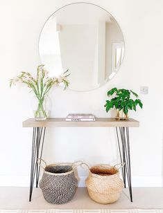 15 Minimalist Scandinavian Console Tables Scandinavian console table with round mirror and wicker ba Modern Console Tables, Minimalist Scandinavian, Scandinavian Interior, Scandinavian Style, Cheap Home Decor, Home Decor Accessories, Home Decor Inspiration, Modern, Asylum