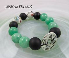 Chinese Good Luck Coin Bracelet - Good Fortune Bracelet - Handmade Chance  Amulet Bracelet - Lime 652d999612a