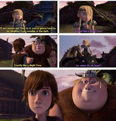 "Hahaha, I love Hiccup's astonished face and Fishleg's proud face. It almost seems like that Fishlegs opened his big mouth intentionally so that Hiccup would have some ""alone time"" with Astrid. That crafty, sneaky, Fishy matchmaker. lol XD"