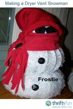 This guide is about making a dryer vent snowman. With this flexible vent tubing you can create an adorable winter decoration. Christmas Crafts, Christmas Ideas, Holiday Ideas, Holiday Decorations, Christmas Time, Xmas, Christmas Ornaments, Dryer Vent Hose, Make A Snowman