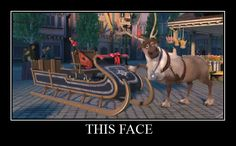 Sven the reindeer, showcasing the new sled for Kristoff, from Anna and Elsa. Disney's Frozen.